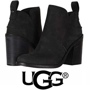 UGG Pixley Leather Chunky Heel Ankle Boots NEW